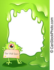 A border design with a monster holding a get-well-soon card...