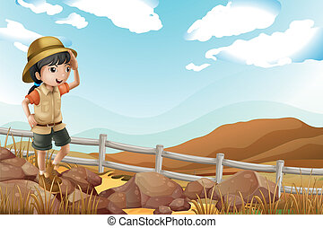A young female explorer walking alone - Illustration of a...