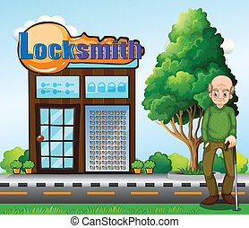 An old man standing in front of the locksmith building -...