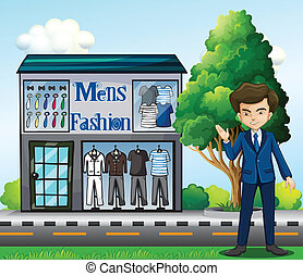 A business owner outside the men's fashion shop -...