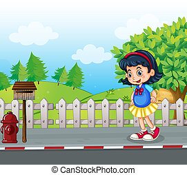 A pupil at the street near the mailbox - Illustration of a...