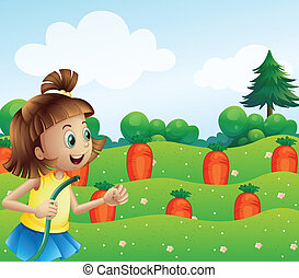 A happy girl watering the carrots in the farm - Illustration...