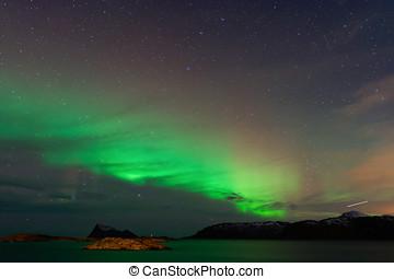 Aurora Borealis with Shooting Star - Aurora Borealis,...
