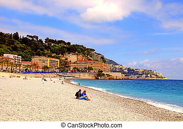 Mediterranean pebble beach in City of Nice, France - View of...