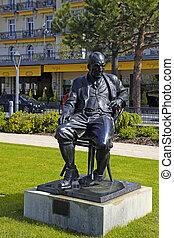 Statue of Vladimir Nabokov, Montreux, Switzerland - Bronze...