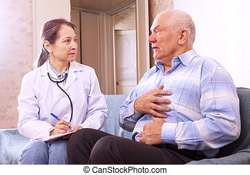 man complaining to doctor about symptoms - sick mature man...