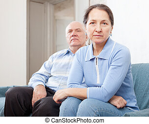 Senior couple having problems at home