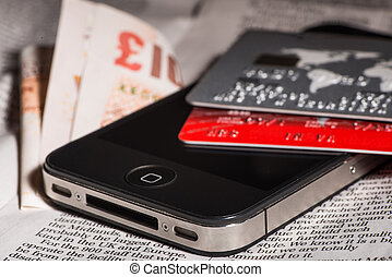 Credit cards, mobile phone and banknotes