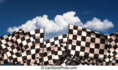 Waving Chequered Flags seamless alpha channel