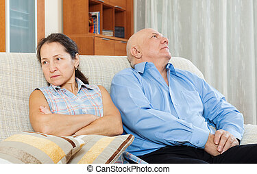 Family quarrel Mature woman having conflict with man -...