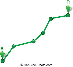 Path from point A to point B. Vector illustration