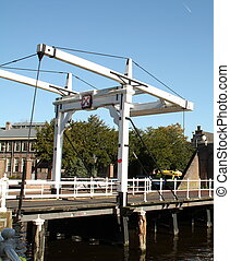 Drawbridge at the city of Leiden The Netherlands