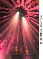 Spotlights in Circus Tent - Two bright spotlights under a...