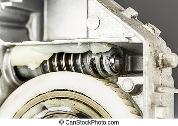 Worm gear , shown up close - Worm gear, a part of the...