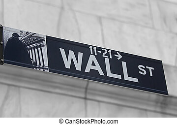 Street signs for Wall Street in NYC - Street signs for Wall...