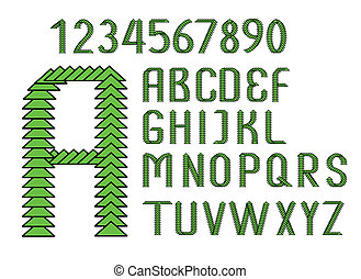 green English alphabet and numbers of triangles