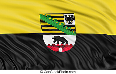 3D Saxony-Anhalt Flag - Rendering of flag Saxony-Anhalt with...