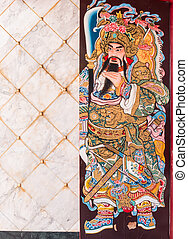 Chinese legend of the god's painting on wooden door. -...
