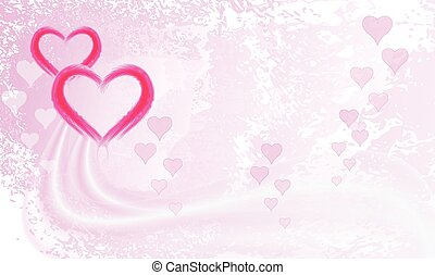Two bright pink hearts