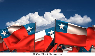 Waving Chilean Flags (seamless & alpha channel)