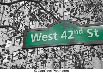 Street signs for West 42nd street in NYC. - Street signs for...
