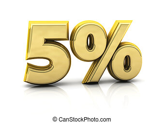 Five percent gold - 3d five percent gold on white background