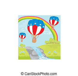 Hot Air Balloons of 4 of July in Flight