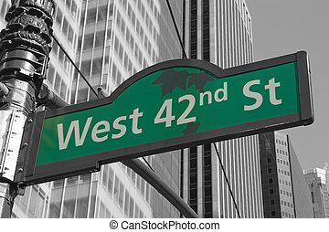 Street signs for West 42nd street in NYC - Street signs for...