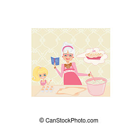 Grandma baking cookies with her granddaughter