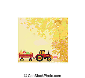 man driving a tractor with a trailer full of vegetables in...