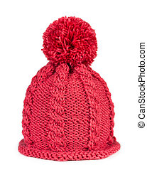 Knitted hat isolated on white background - Knitted hat with...