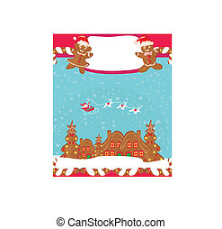 christmas card with a ginger-bread and Santa Claus flying...