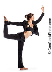 Woman in Yoga Pose Wearing a Business Suit - Keeping fit for...