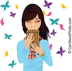 Girl with a pans flute surrounded by butterflies vector