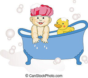 Baby Taking a Bath - Scalable vectorial image representing a...