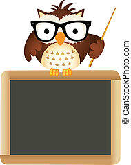 Owl Teacher with School Board - Scalable vectorial image...