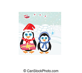 Christmas card with a penguins and santa