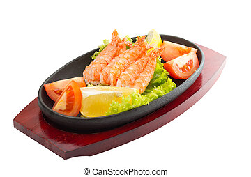 fried shrimp with vegetables on plate isolated