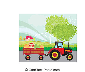 man driving a tractor with a trailer full of vegetables