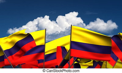 Waving Colombian Flags