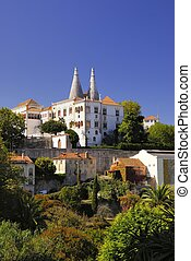 Sintra - Seaside village on a cliff overlooking the ocean in...