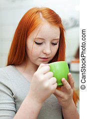 girl gargling throat in home - Young girl gargling throat in...