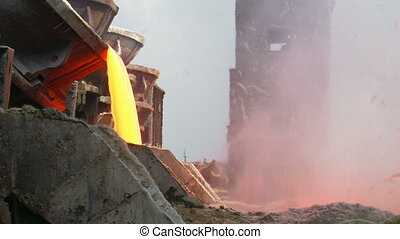 Molten steel. Metallurgical Plant. Alchevsk, Ukraine.