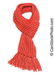 Red scarf - Red textile scarf isolated on white background