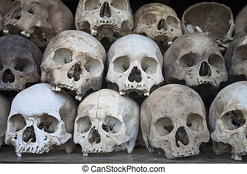Stacked human skulls at the Killing Fields of Choeung Ek,...