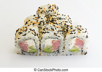 Sushi roll with tuna and sesame