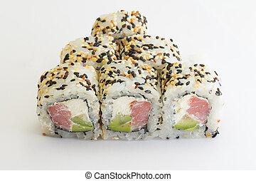 Sushi, rollo, Atún, sésamo
