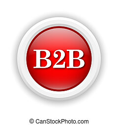 B2B icon - Round plastic icon with white design on red...