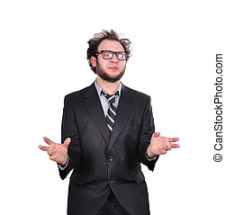 crazy businessman in suit on white background