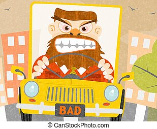 Road rage - Cartoon illustration with an angry driver in the...